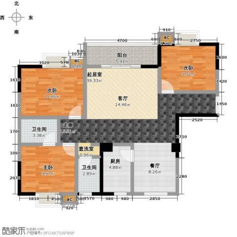 桂林翰林轩3室0厅2卫1厨122.00㎡户型图