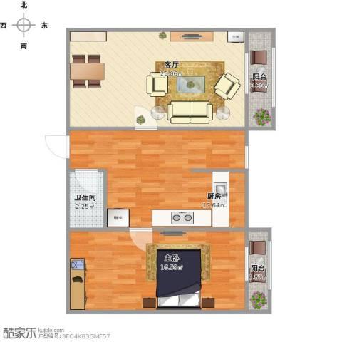 日月家园1室1厅1卫1厨82.00㎡户型图