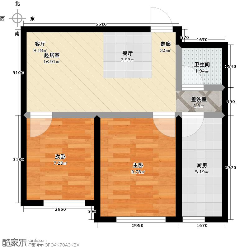 泓宇申林公馆65.06㎡C户型2室2厅1卫