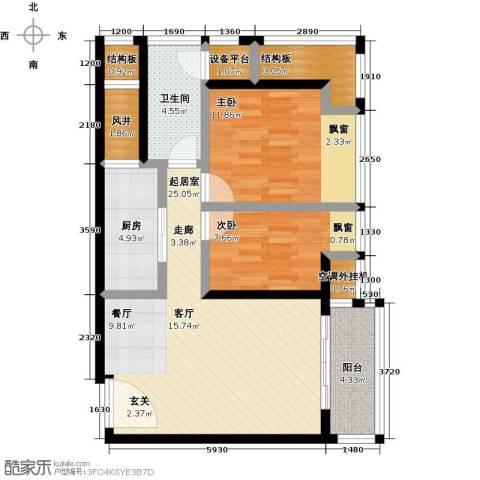 星河澜月湾2室0厅1卫1厨81.00㎡户型图