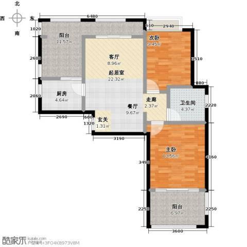 泉倾天下2室0厅1卫1厨91.00㎡户型图