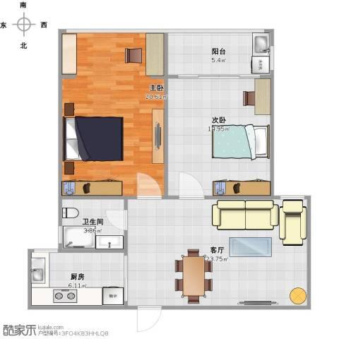 碧水华庭2室1厅1卫1厨126.00㎡户型图