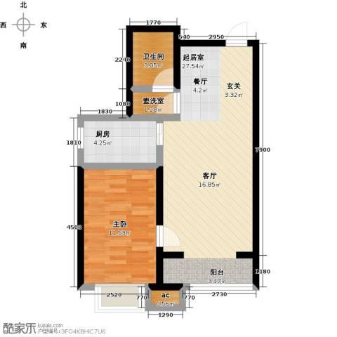 秀水华庭1室0厅1卫1厨67.00㎡户型图