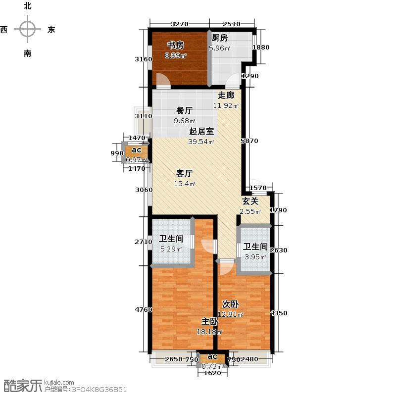 万科城139.00㎡D1三室两厅两卫139㎡户型3室2厅2卫