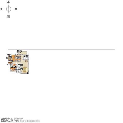 凯江新城4室1厅2卫1厨128.00㎡户型图