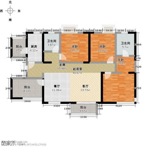 元氏天山水榭花都3室0厅2卫1厨129.00㎡户型图