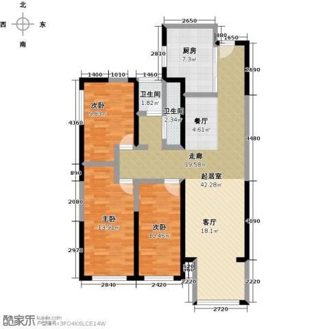元氏天山水榭花都3室0厅2卫1厨102.00㎡户型图