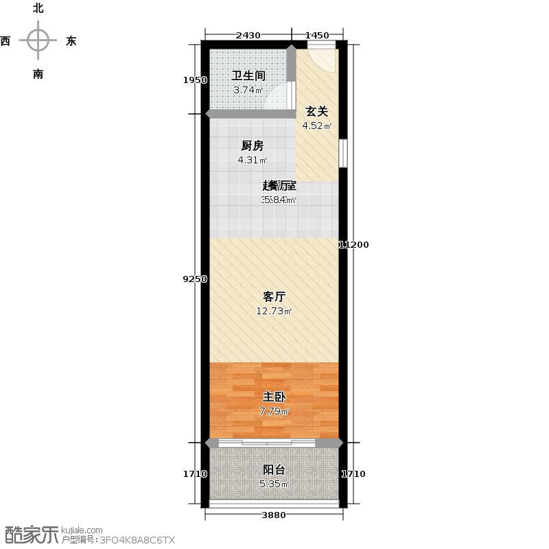 锦绣大厦59.71㎡14―1户型1室1厅1卫