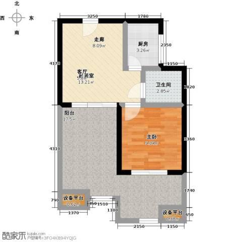 山泉海1室0厅1卫1厨56.00㎡户型图