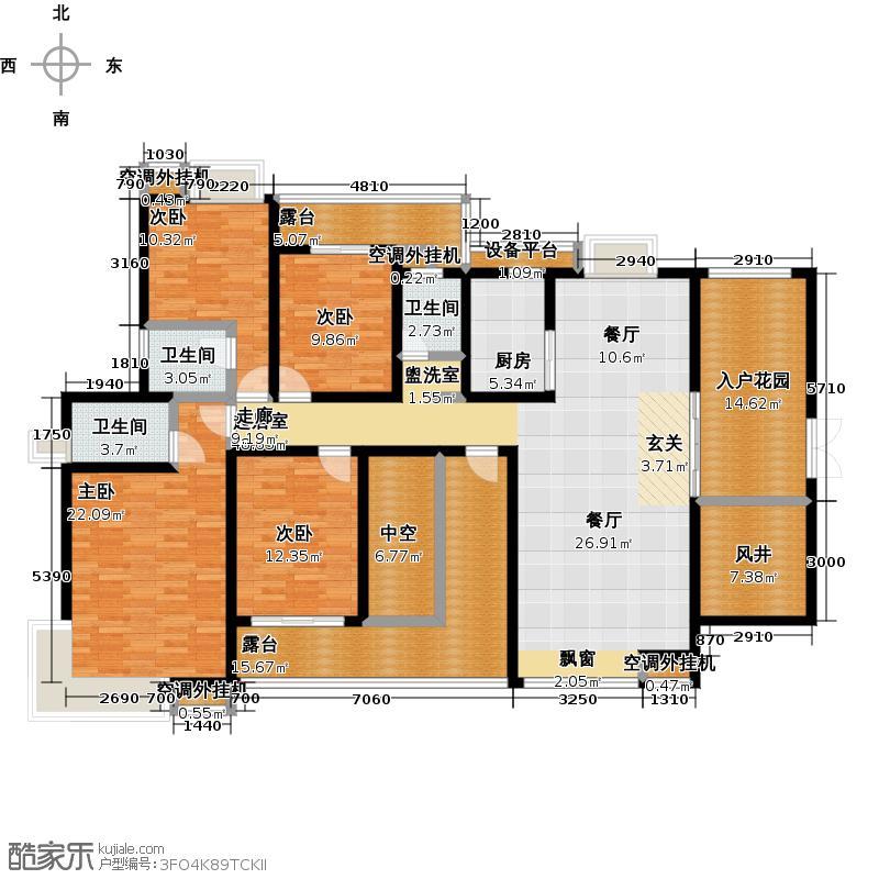 国瑞花园H户型图 四房两厅三卫户型4室2厅3卫