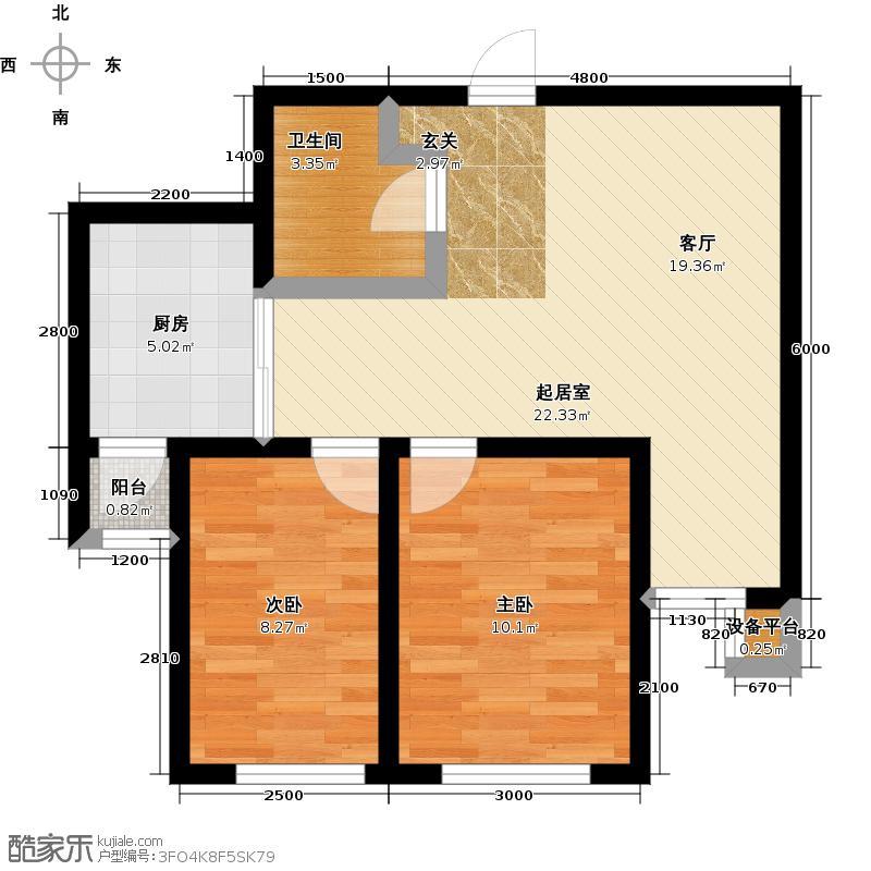 马德里皇家花园三期77.93㎡I-1户型 一室两厅一卫户型1室2厅1卫