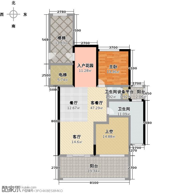 合景汀澜海岸92.48㎡G户型一室两厅两卫户型1室2厅2卫