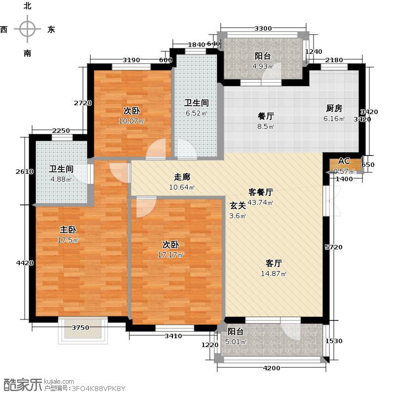 鲁能东方优山美地123.14㎡迪亚小镇洋房D户型三室二厅二卫户型3室2厅2卫