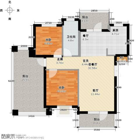 鲁能东方优山美地2室1厅1卫0厨113.00㎡户型图