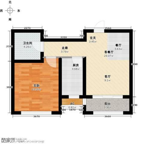 日月兴城1室1厅1卫1厨68.00㎡户型图