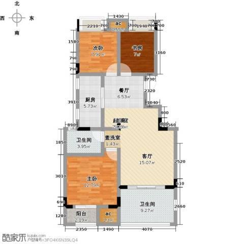 国贸仁皇3室0厅2卫1厨90.00㎡户型图