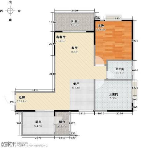 南海佳园1室1厅2卫1厨72.00㎡户型图
