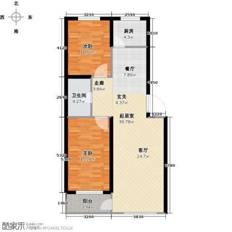洪洲花园2室0厅1卫1厨89.00㎡户型图