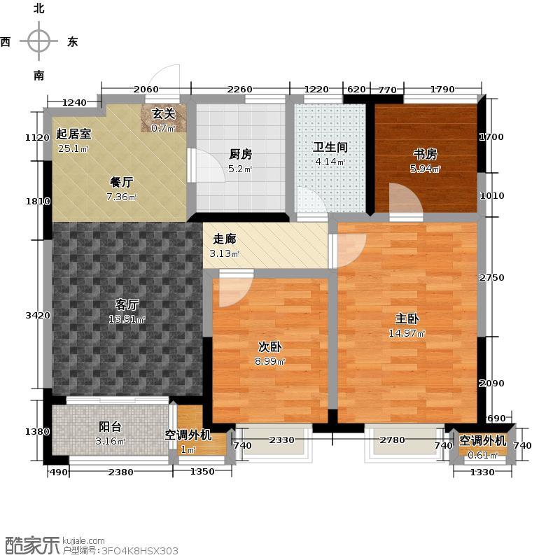 扬州华润橡树湾85.00㎡3室2厅1卫 85平米户型3室2厅1卫
