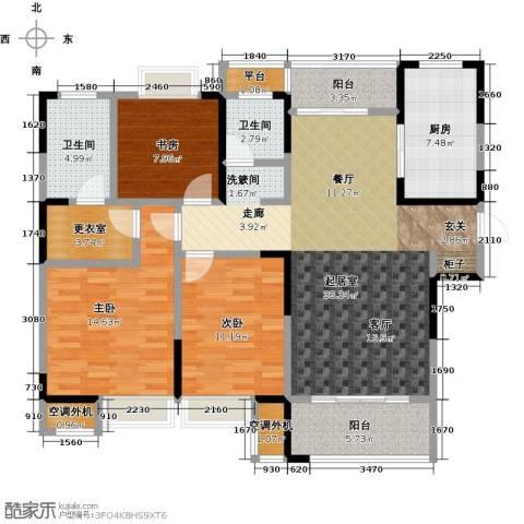 扬州华润橡树湾3室0厅2卫1厨125.00㎡户型图