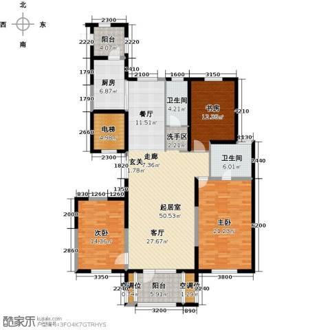 浦江苑御品3室0厅2卫1厨153.00㎡户型图