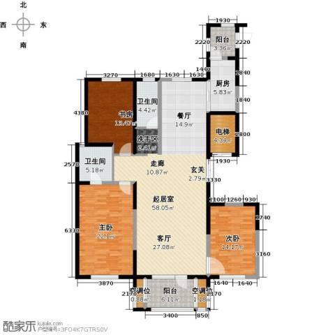 浦江苑御品3室0厅2卫1厨158.00㎡户型图
