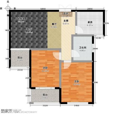 润地凤凰城2室0厅1卫1厨88.00㎡户型图