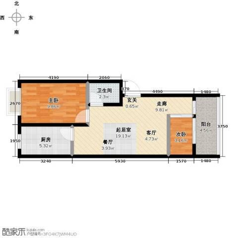 雪峰花园2室0厅1卫1厨51.00㎡户型图