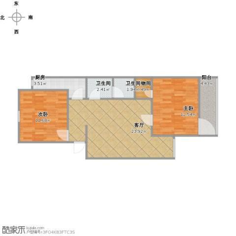 西三环北路86号院2室1厅2卫1厨84.00㎡户型图