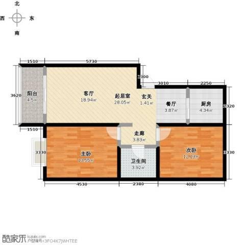 雪峰花园2室0厅1卫1厨89.00㎡户型图