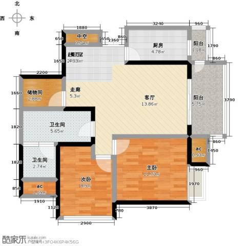 都城雅颂居2室0厅2卫1厨89.00㎡户型图