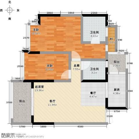 都城雅颂居2室0厅2卫1厨95.00㎡户型图