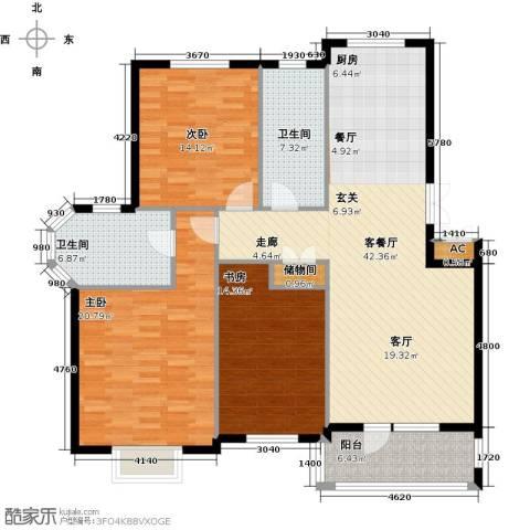 鲁能东方优山美地3室1厅2卫0厨126.00㎡户型图