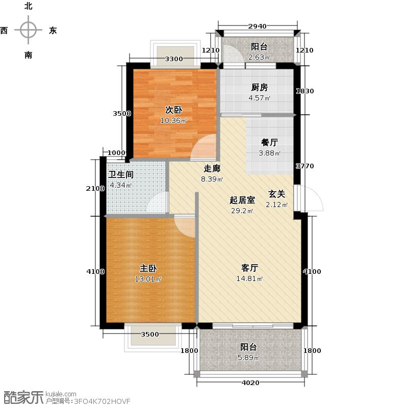 汇丰桃园87.78㎡C户型 两房两厅一卫一厨 87.78平米户型2室2厅1卫
