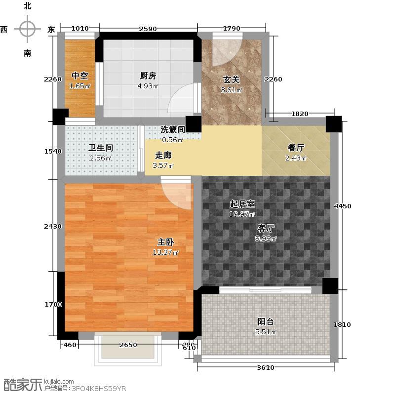 江扬尚东国际62.00㎡62平米精致小户型1室2厅1卫
