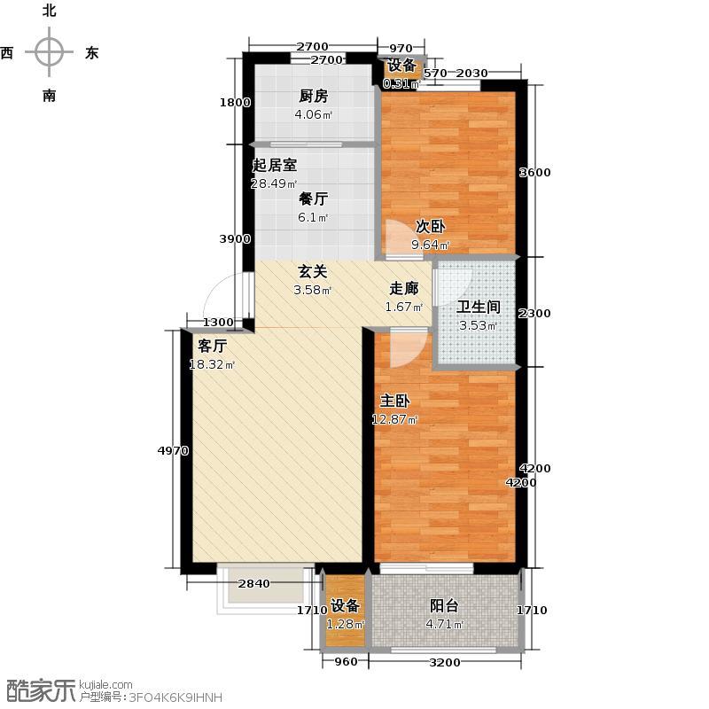 御景东城F2户型2室1卫1厨