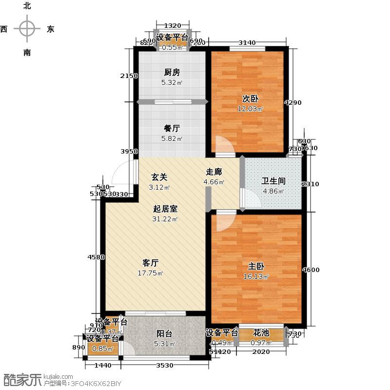 水岸花城A2―两房两厅一厨一卫户型