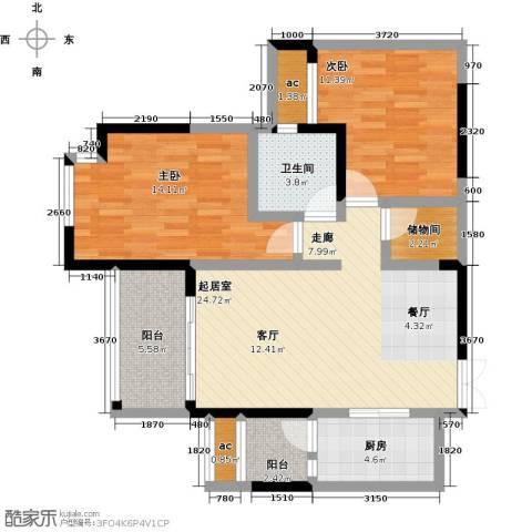 都城雅颂居2室0厅1卫1厨94.00㎡户型图
