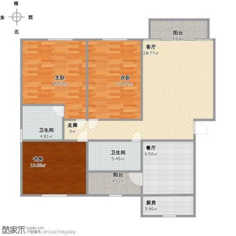 九曲龙庭3室2厅2卫1厨138.00㎡户型图