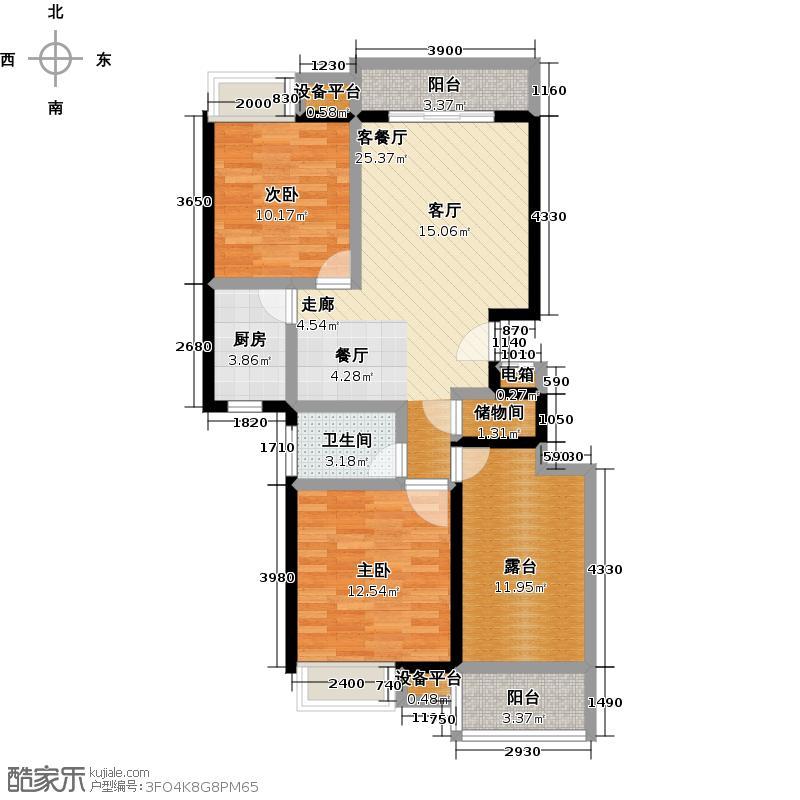 福佳斯国际花园90.00㎡H户型:两室两厅一卫户型2室2厅1卫