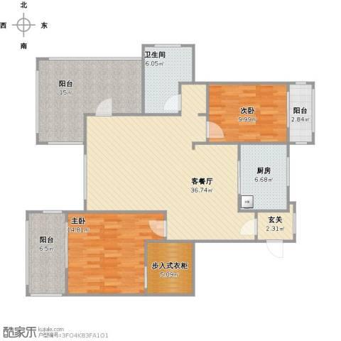 浦江颐城2室1厅1卫1厨143.00㎡户型图