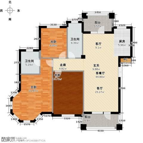 鲁能东方优山美地3室1厅2卫0厨130.00㎡户型图