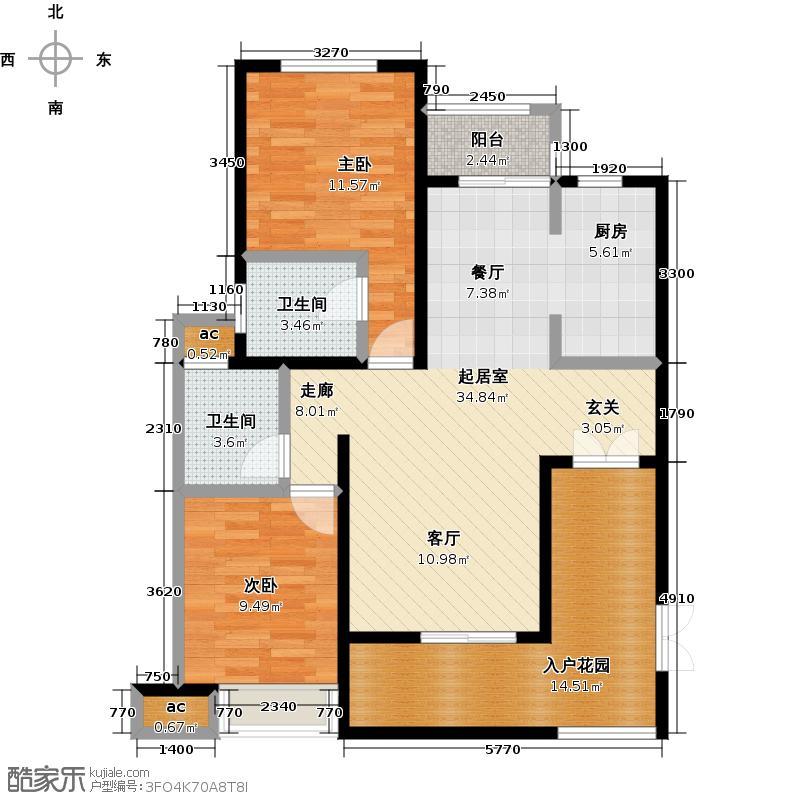 中弘・西岸首府115.00㎡H户型图2室2厅2卫1厨 115平米户型2室2厅2卫