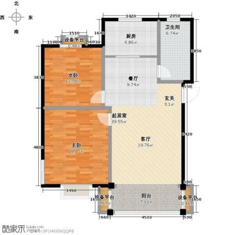 长安祥育苑2室0厅1卫1厨92.00㎡户型图