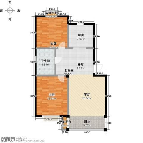 长安祥育苑2室0厅1卫1厨91.00㎡户型图
