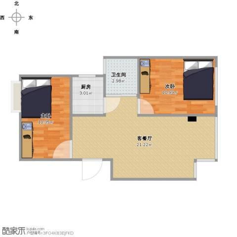 长福花园2室1厅1卫1厨66.00㎡户型图