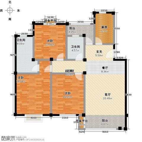 长安祥育苑3室0厅2卫1厨131.00㎡户型图