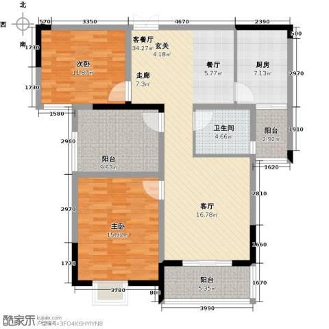 皇廷御苑2室1厅1卫1厨131.00㎡户型图