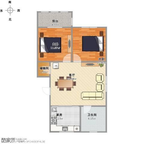团结新村2室1厅1卫1厨89.00㎡户型图