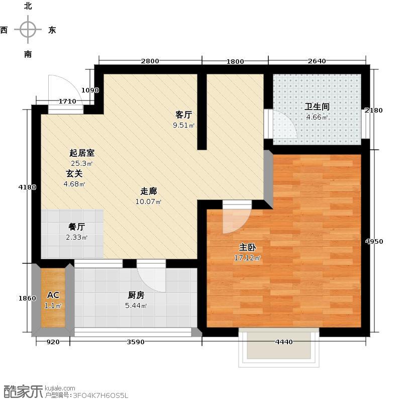 津港华府62.80㎡项目户型图户型1室1厅1卫-T